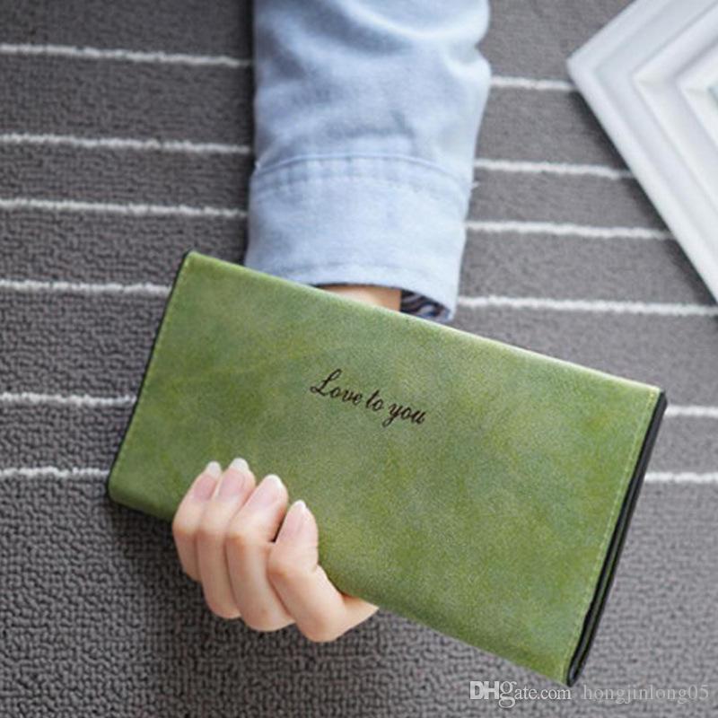 Женская мода кошельки барышня большой емкости длинные кошельки женщины искусственная кожа сцепления сумки карты держатель бумажник женщины сумка 8 цветов