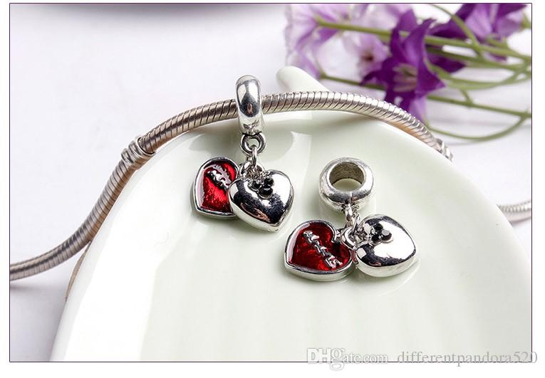 Fits Pandora Sterling Silver Bracelet Red Mickey Double Heart Dangle Pendant Beads Charms For European Snake Charm Chain Fashion DIY Jewelry
