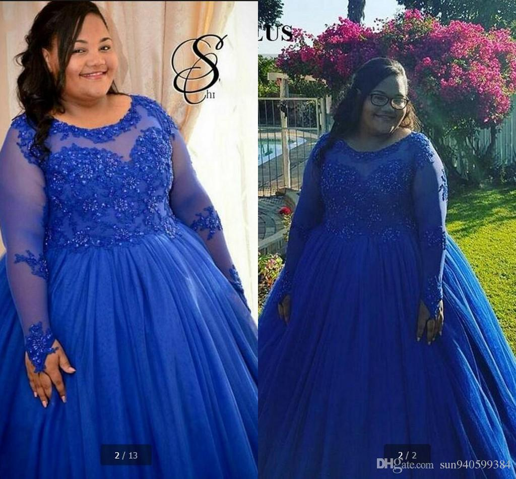 Custom Made Plus Size Royal Blue Puffy Ball Gown Prom Dress Evening ...