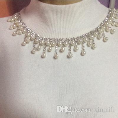 Free shippment! 1Yardpearl and crystal rhinestone chain trim bridal dance costume decor craft collar applique accessories