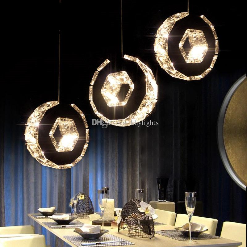 Discount Led Crystal Chandelier Bar Lamp Round Dining Room Lights Table Hanging Line Simple Ring Circle Light Ball Pendant