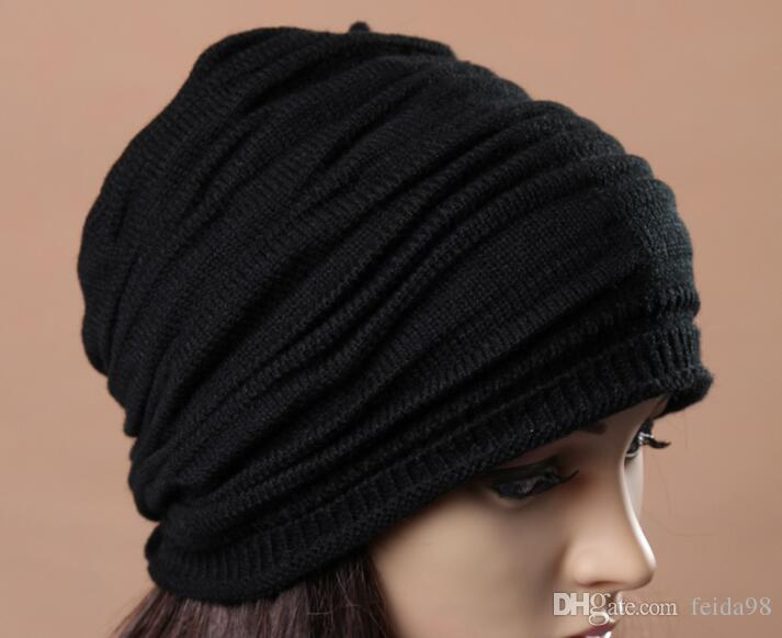 Fashion Beanie Skull Caps Mens Womens Spring Fall Winter Wool Knitted Ruffle Layers Plain Hats Caps G582