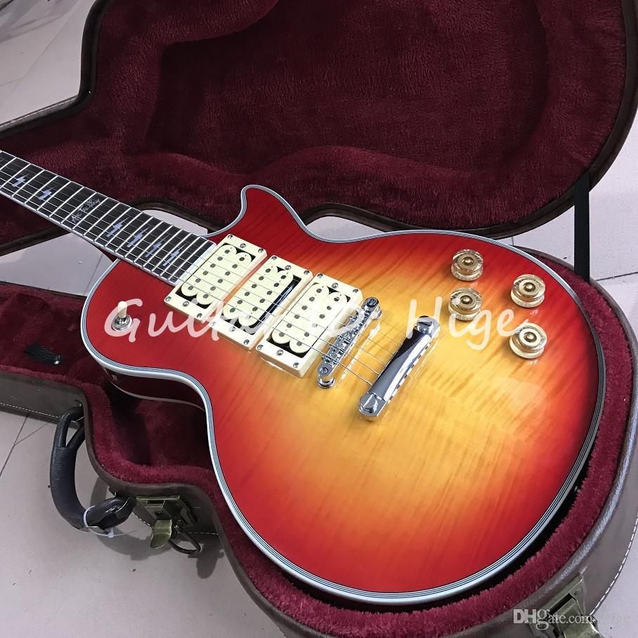 Vendita calda Fabbrica personalizzata negozio personalizzato stile Ace chitarra frehley firma di alta qualità Ace frehley 3 pickup chitarra elettrica, buona chitarra