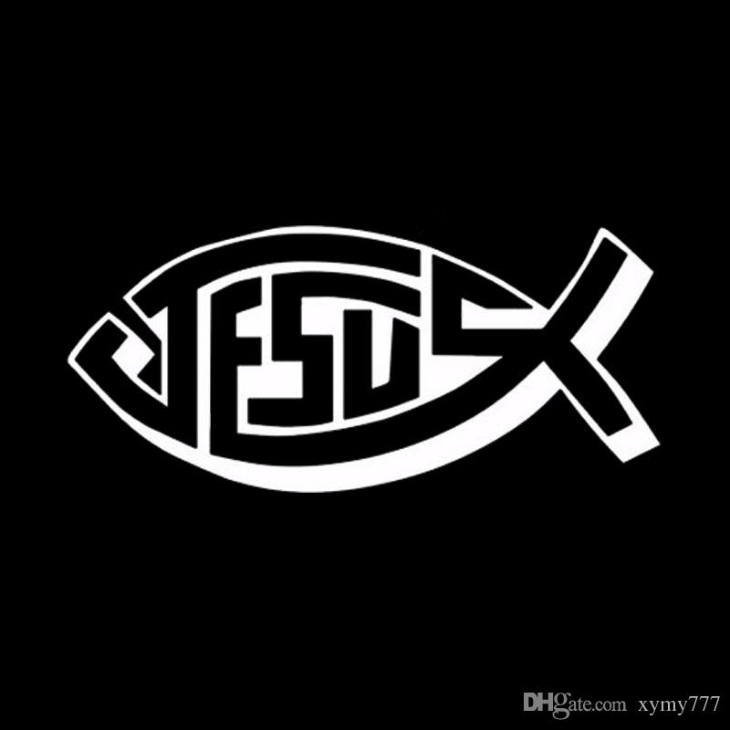 Hot Sale Car Stying Jesus Fish Christian Cross Vinyl Car Decal Decals Sticker Window Jdm