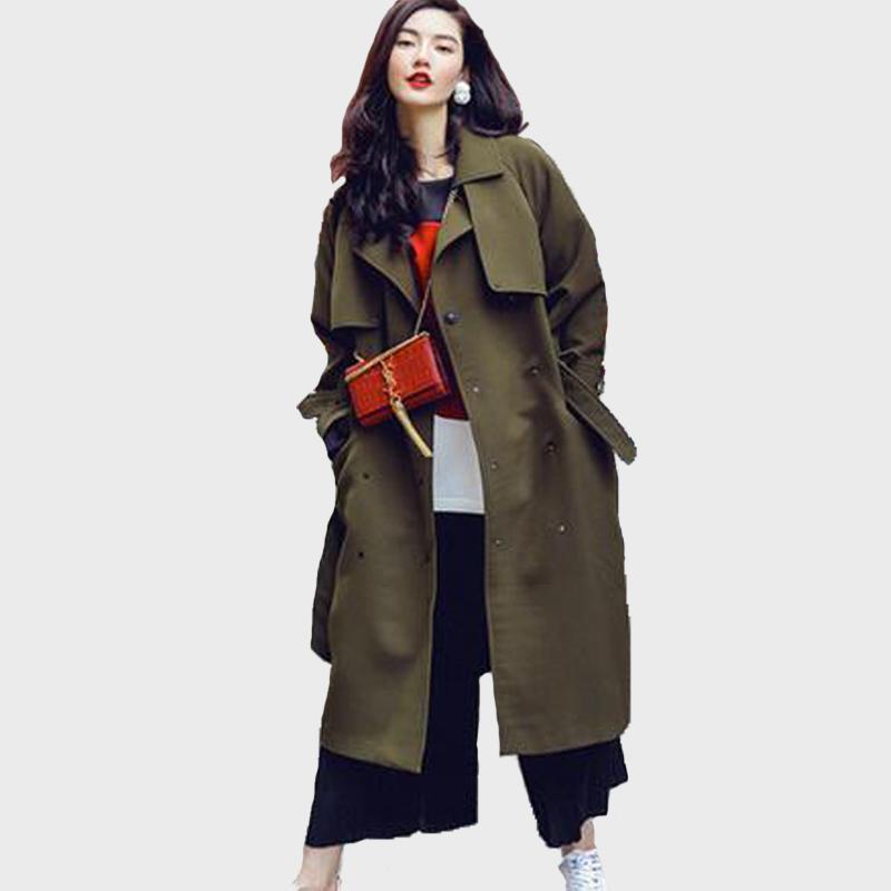 2018 Winter New European Street Style Women Trench Coat Female ...