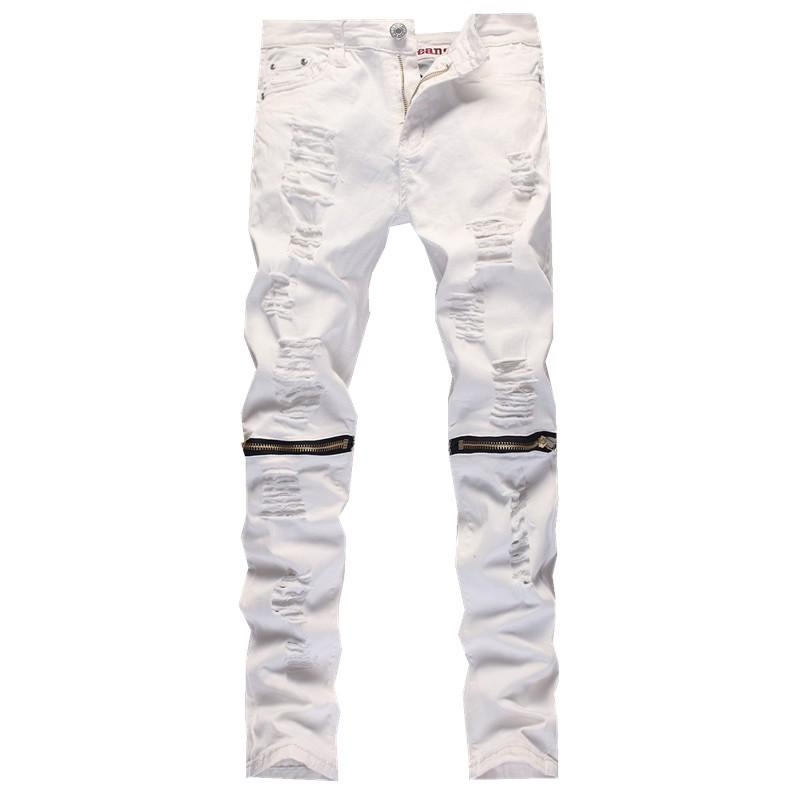 db4ff3e691b1 2019 Wholesale 2016 New Male Jeans White Ripped Knee Hole Club Jeans Men  Brand Slim Fit Cut Destroyed Torn Jean Pants For Male Homme From Vanilla04