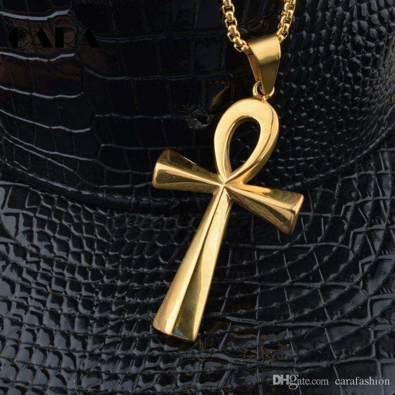 Кара новое прибытие египетский АНК крест кулон ожерелье цепь нержавеющей стали 316L crux ansata ожерелье для мужчин CAGF0006