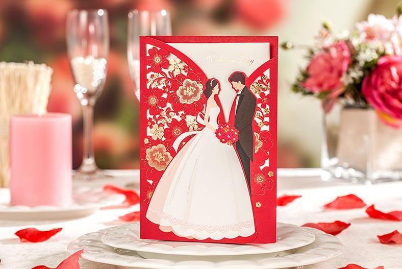 Pocketfold Wedding Invitations Wholesale: Red Laser Cutting Wedding Invitations Card With Envelope