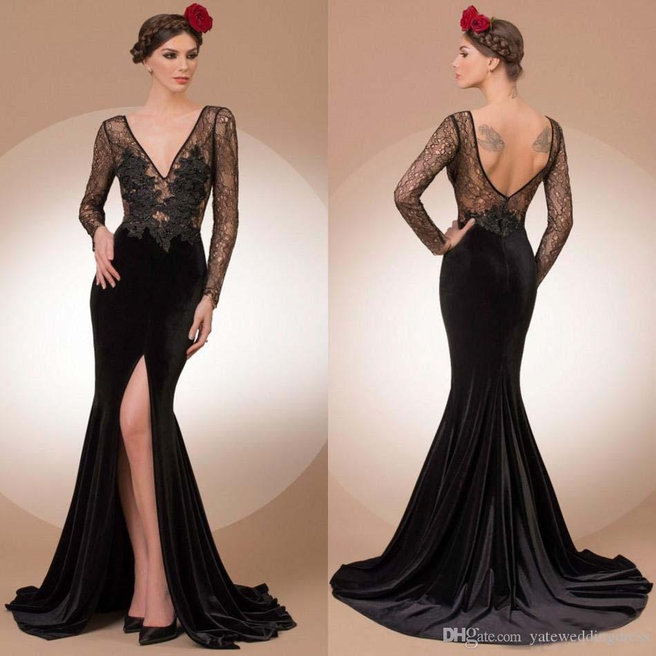11884ae82555 Black Sexy Evening Gowns Sheer Lace Corset Deep V Neck Long Sleeves Prom  Dresses With Applique Front Split Sweep Train Custom Formal Gowns Evening  Maxi ...