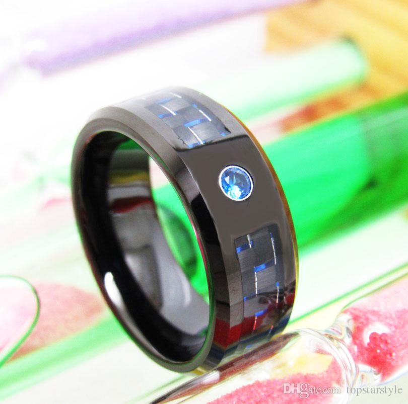Hot sales Mens 8mm Black Tungsten Carbide Ring beveled edges with black and blue carbon fiber CZ SET popular and fashion jewelry finger ring