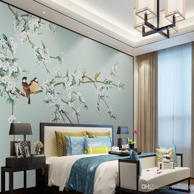 Grosshandel 3d Moderne Chinesische Blume Vogeltapete Wohnzimmer