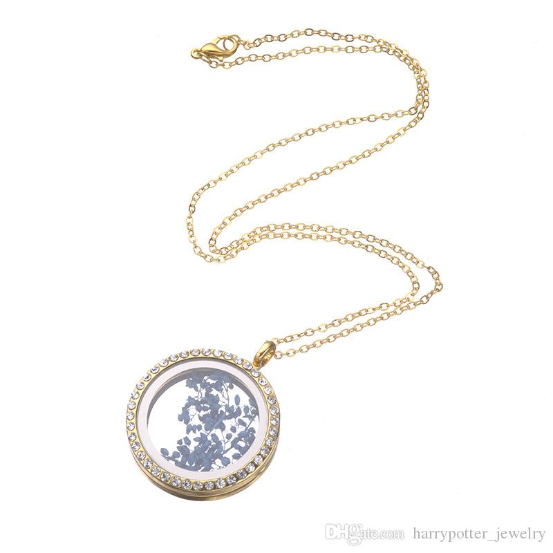 crystal Floating Locket Pendant Necklace women Magnetic Living Memory Glass Floating Charm Locket With bead Chains DIY necklaces 161932