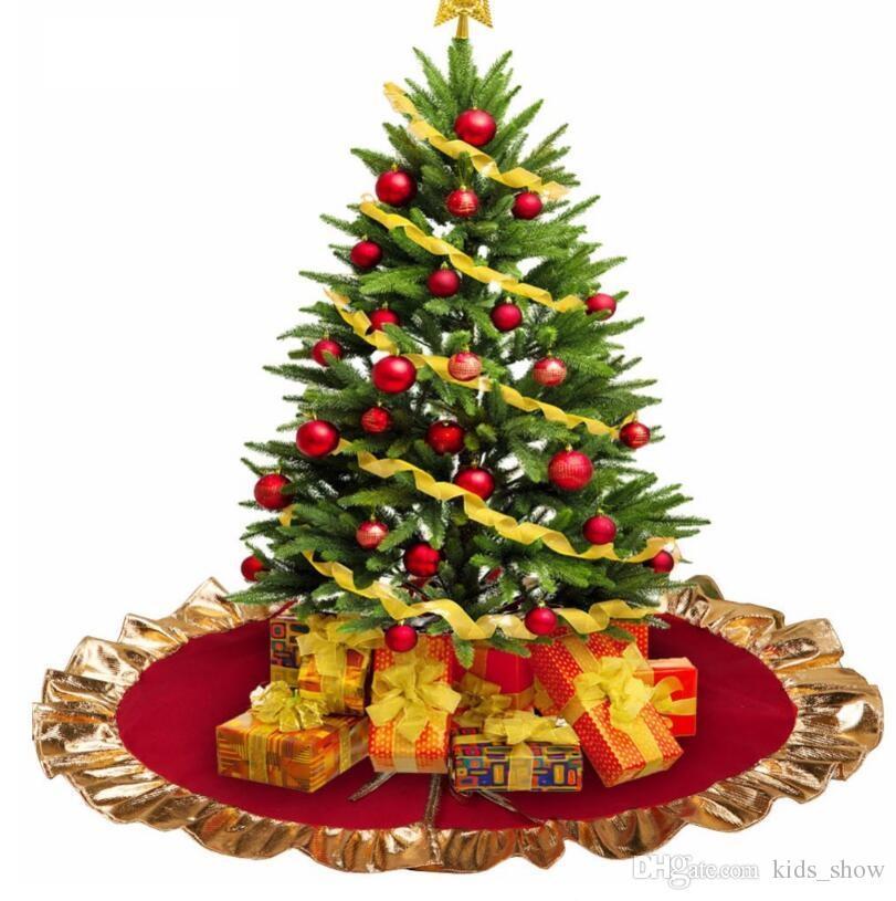 Haute Qualité 90 cm Belle Rouge Jupe D'arbre De Noël avec Or Ruffle Bord Nouvel An Décorations De Noël Décoration