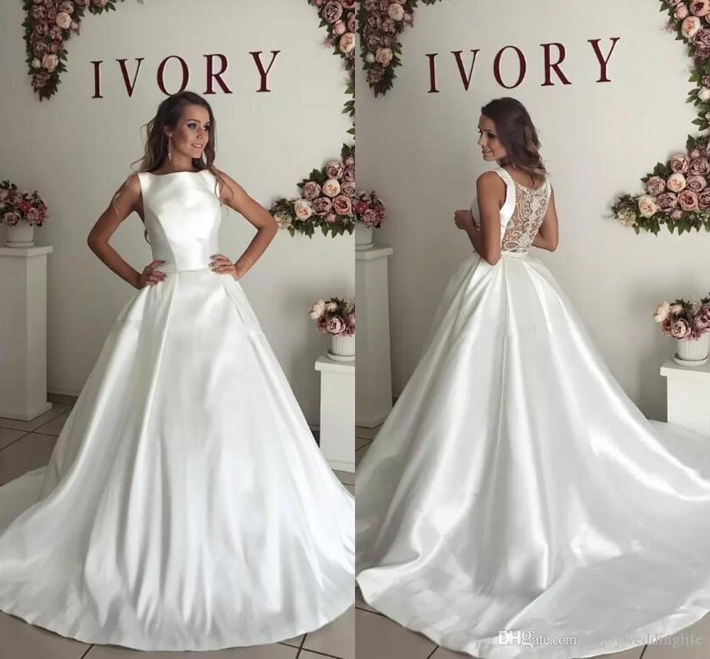 Discount 2018 Simple Elegant Satin Wedding Dresses Illusion Back ...
