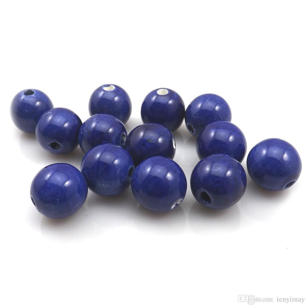 Alta calidad 100 unids / lote 14 mm Royal Blue granos flojos de cerámica redondos para hacer la joyería DIY envío gratis