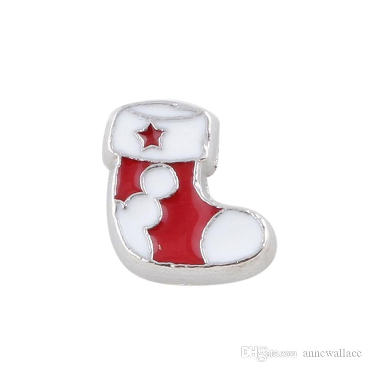 good quality new type alloy Christmas stocking floating charms for glass living memory lockets