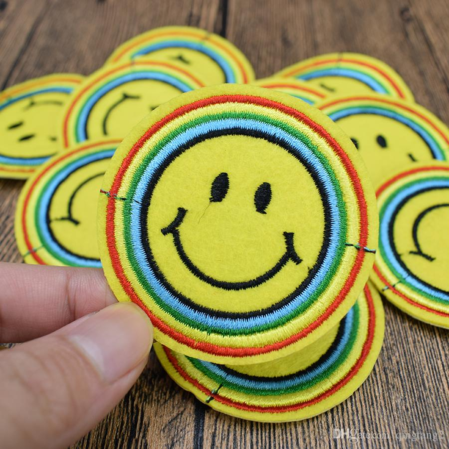 rainbow expression patches for clothing iron patch for clothes applique sewing accessories stickers badge on cloth iron on patches DIY