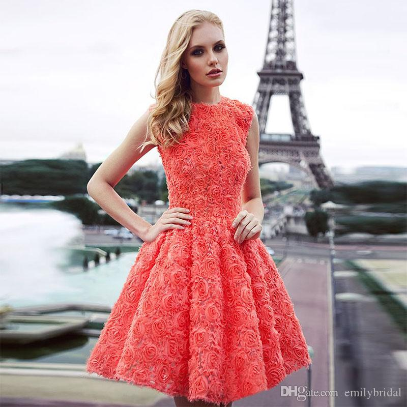 New Arriva 2017 Coral Cocktail Dresses Pretty Short Formal Party