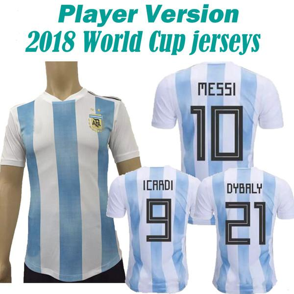 9613be10c2c 2019 2018 Argentina Player Version World Cup Soccer Jersey Home Blue White Soccer  Shirt Messi Aguero Di Maria Football Shirts Uniform From Fanshomejerseys