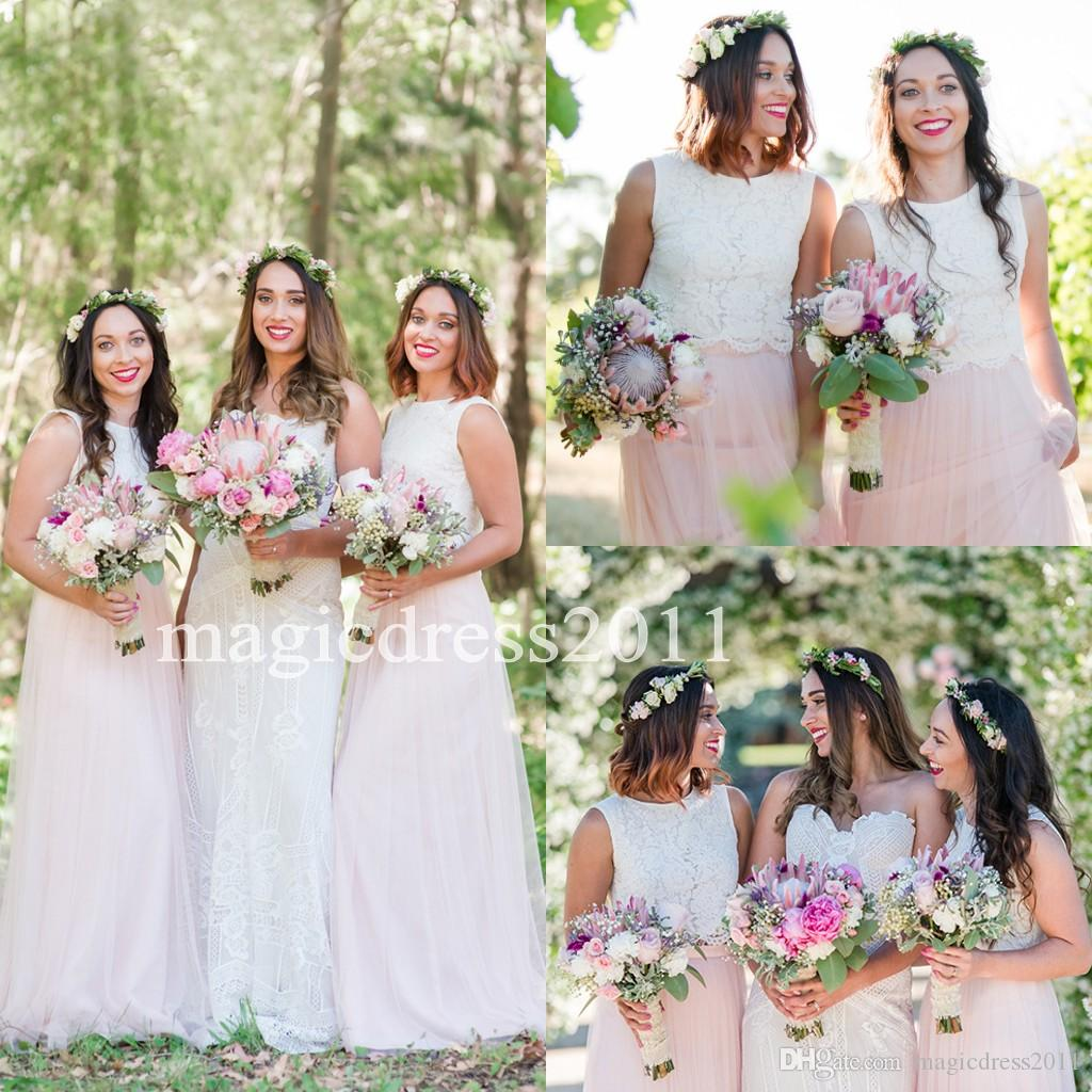 get online new & pre-owned designer hot-selling latest 2017 Rustic Boho Two Pieces white Lace Bridesmaid Dresses with Pink Skirt  A-Line Jewel Vintage Summer Beach Party Dress for Wedding