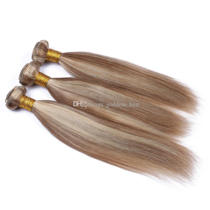 البرازيلي عذراء الشعر البشري حزم 3 قطع ميكس بيانو اللون # 8 # 613 حريري مستقيم الشعر اللحمة المتوسطة البني والشقراء الشعر 10-30 بوصة