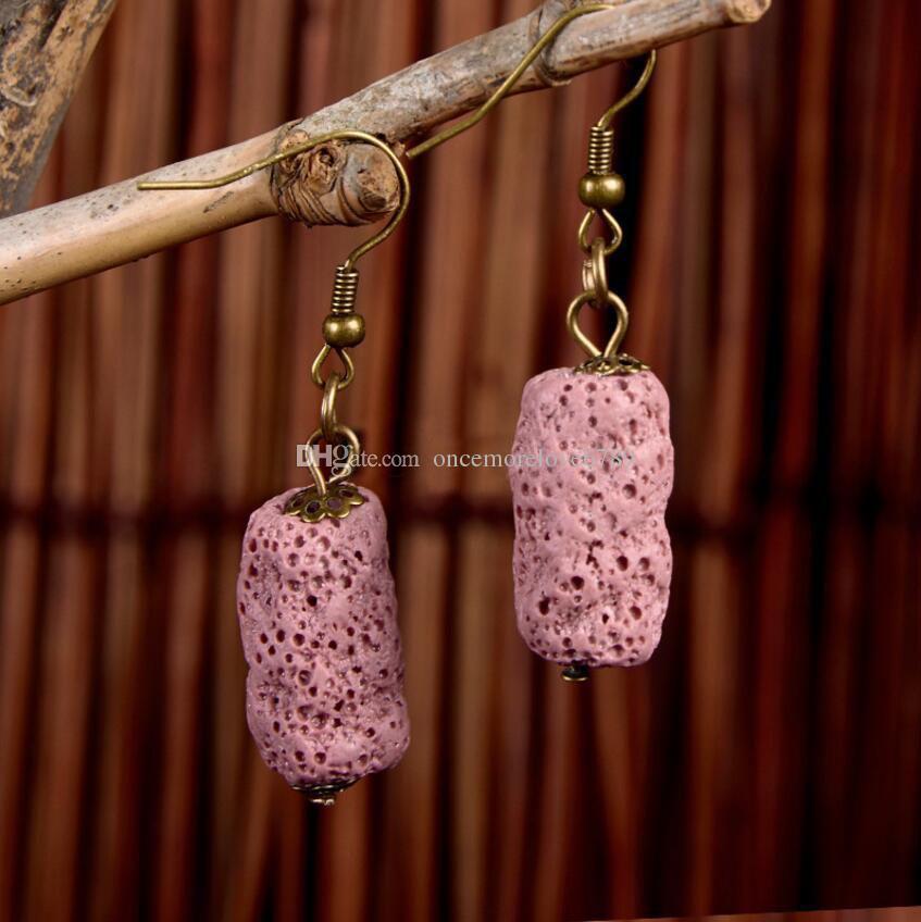 8 Kolory Lawa Kamień Kolczyki Kolczyki Cylinder Perfumy Essential Oil Dyfuzor Naturalny Kamień Etniczne Kolczyki Akcesoria Biżuteria Kobiety