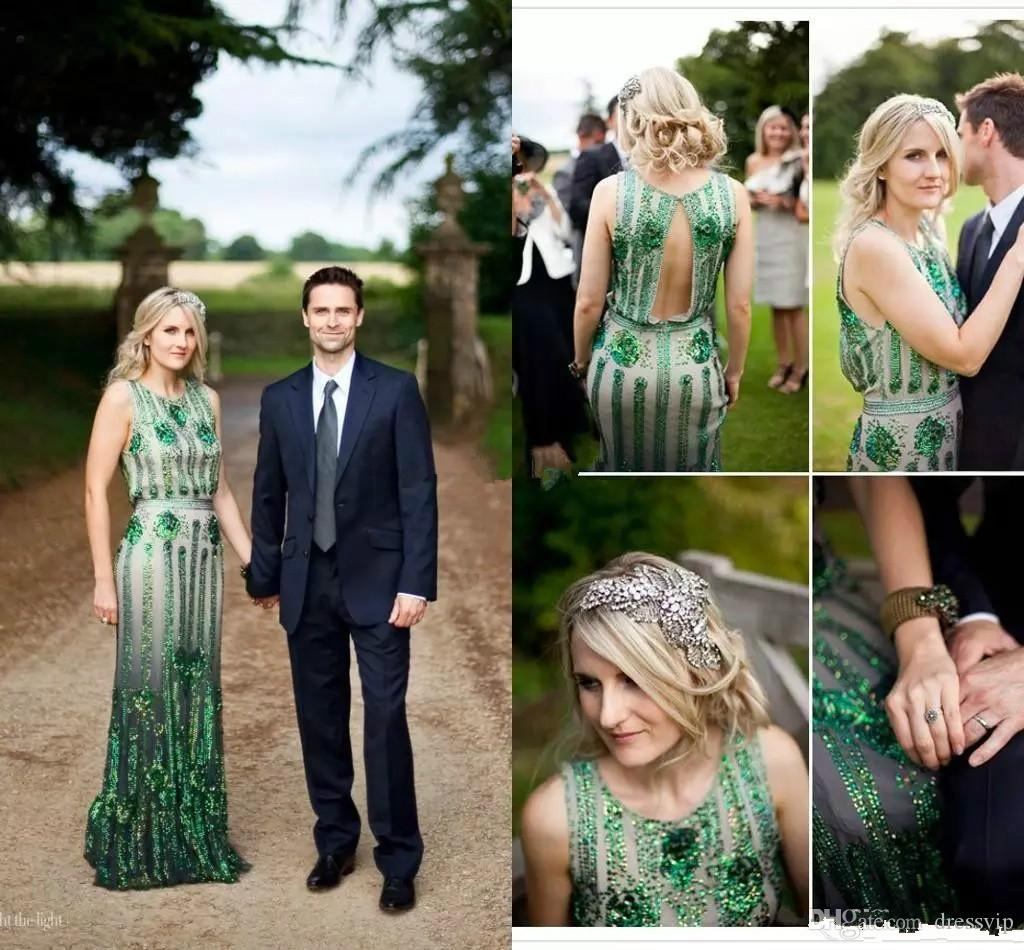 Vintage Great Gatsby Emerald Green Wedding Dresses Beads Jenny