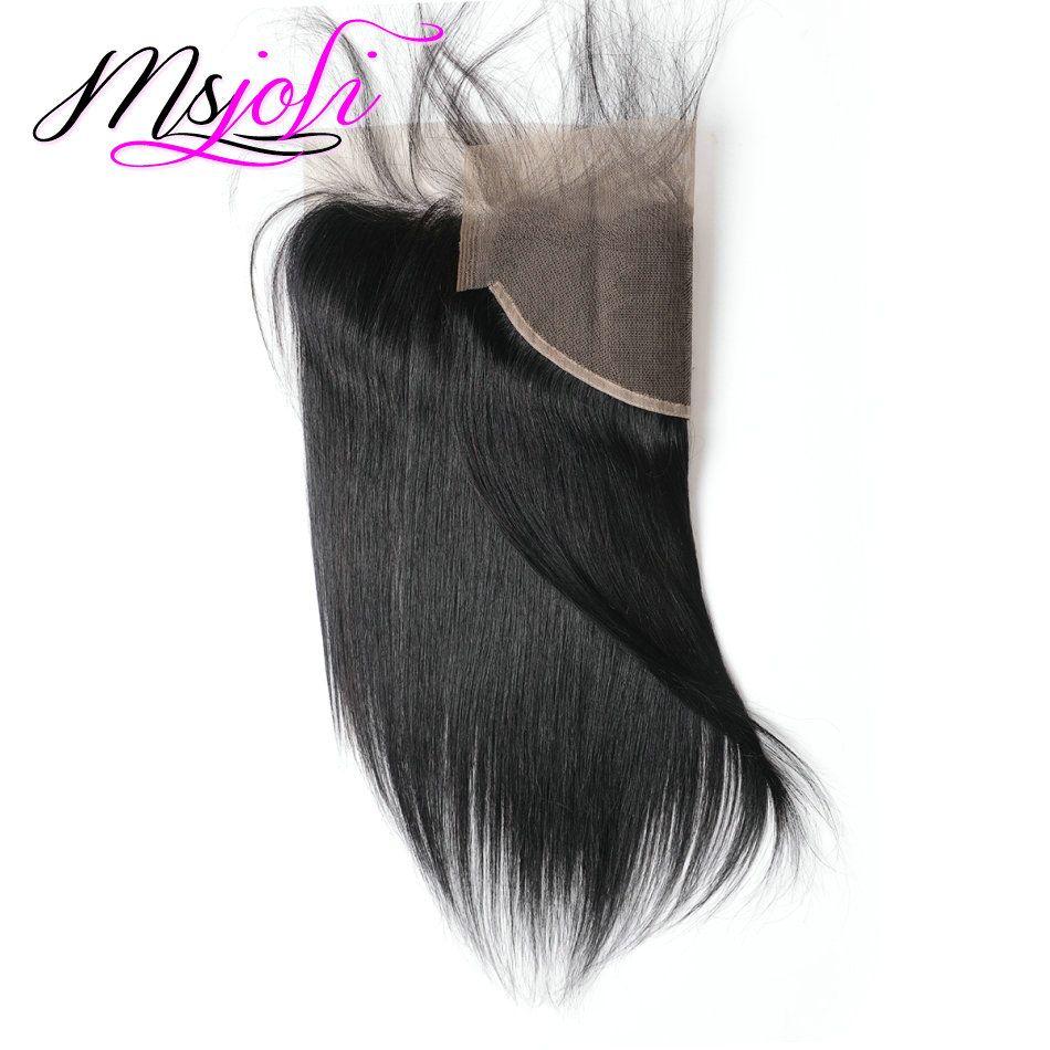 Наращивание волос перуанской девственницы с 13x4 кружевными прямыми прямыми ушками до ушей необработанными прямыми замками с пачками 3 + 1 шт. / Лот