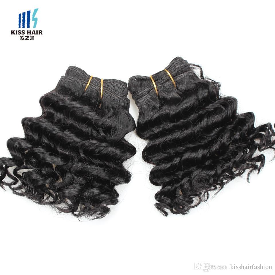 Öpücük saç 8 inç derin dalga işlenmemiş bakire remy insan saç örgü kısa bob tarzı 165g brezilyalı derin kıvırcık bakire saç doğal siyah