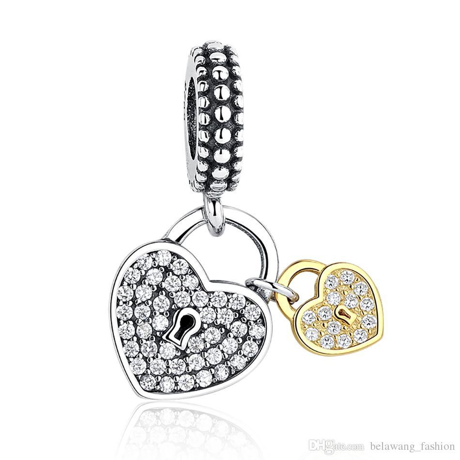 BELAWANG 925 стерлингового серебра Любовь сердца замки болтаться очарование с золотым сердцем ясно CZ для женщин Fit Pandora браслет ювелирных изделий