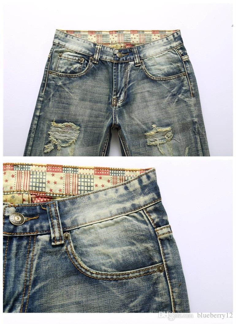 Heiße Art und Weise Mens-Entwerfer-Jeans-Männer wuschen gebrochene berühmte Marken-Denim mit gedrucktem Innere plus Größe