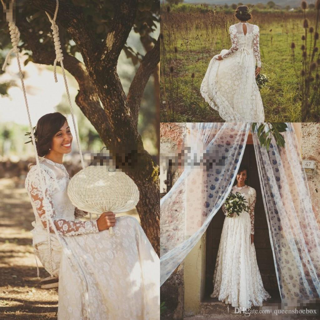 Discount 1950s Style Southern Italian Wedding Dresses With Long Sleeve 2018  Retro High Neck Lace Floral Country Bohemian Holiday Wedding Gowns Wedding  ...