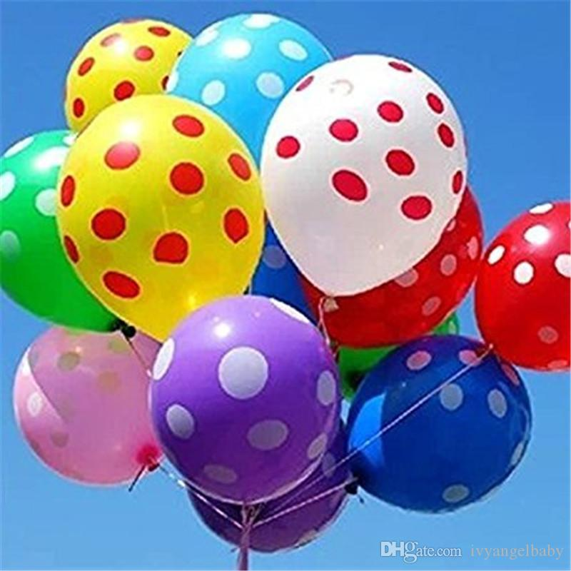 12 assorted balloons latex polka dot balloon for party wedding