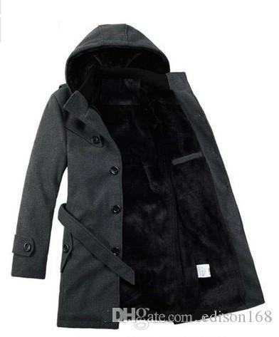 Män s Casual Fashion Winter Håll Varm förtjockad Lång vindbrott Trench Coats Jackor Overcoat Bomull-Padded Kläder Parkas 2 Färg Y22