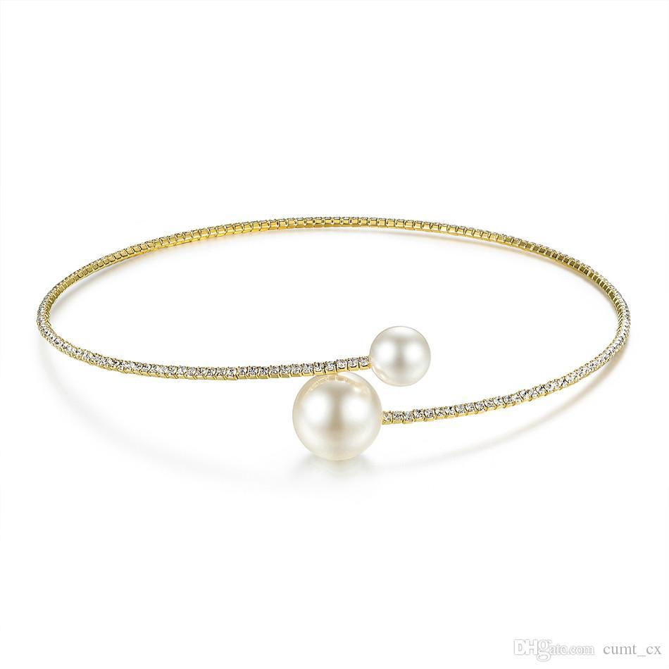 Marca simple simulado perla conjuntos nupciales de la joyería cristal moda joyería de la boda collar pulsera establece para las mujeres