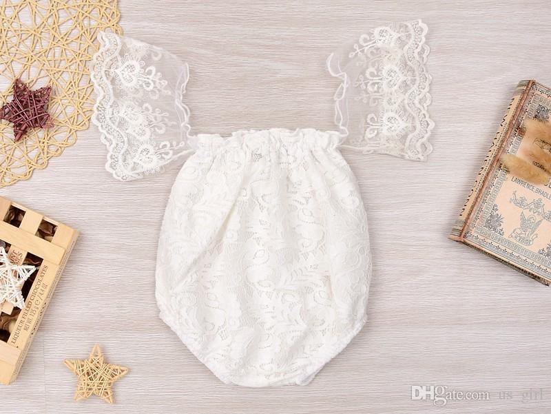INS Casual White Girls Mamelucos Verano Infantil Bebé Niña Flor Llena Del Cordón de la Mariposa Del Mameluco Dulce Traje Princesa Ropa 0-24Mos gratis
