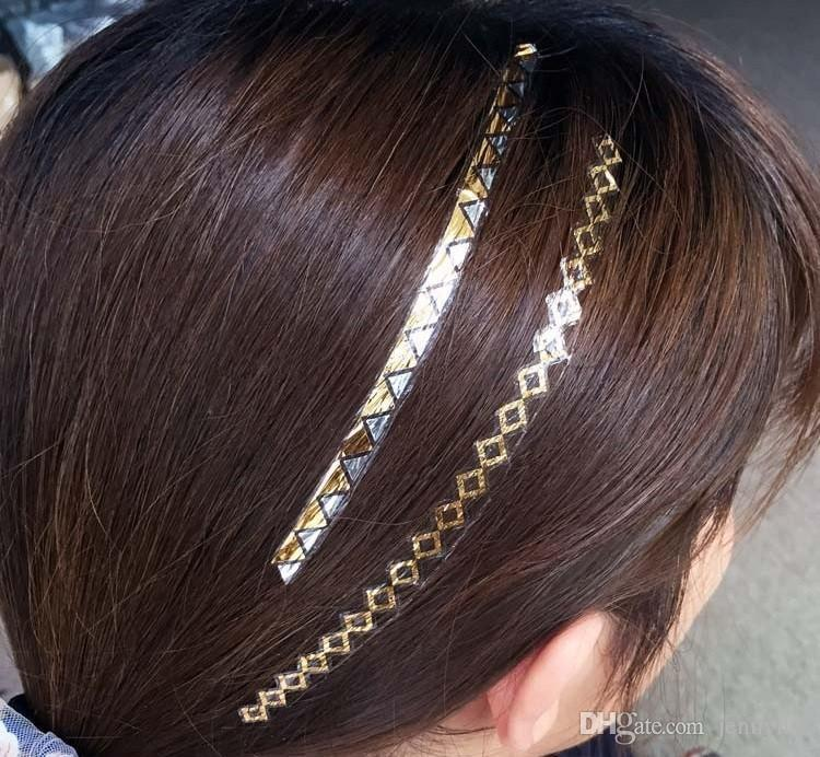 Fashion hair tattoos metallic flash jewelry temporary for Hair tattoo cost
