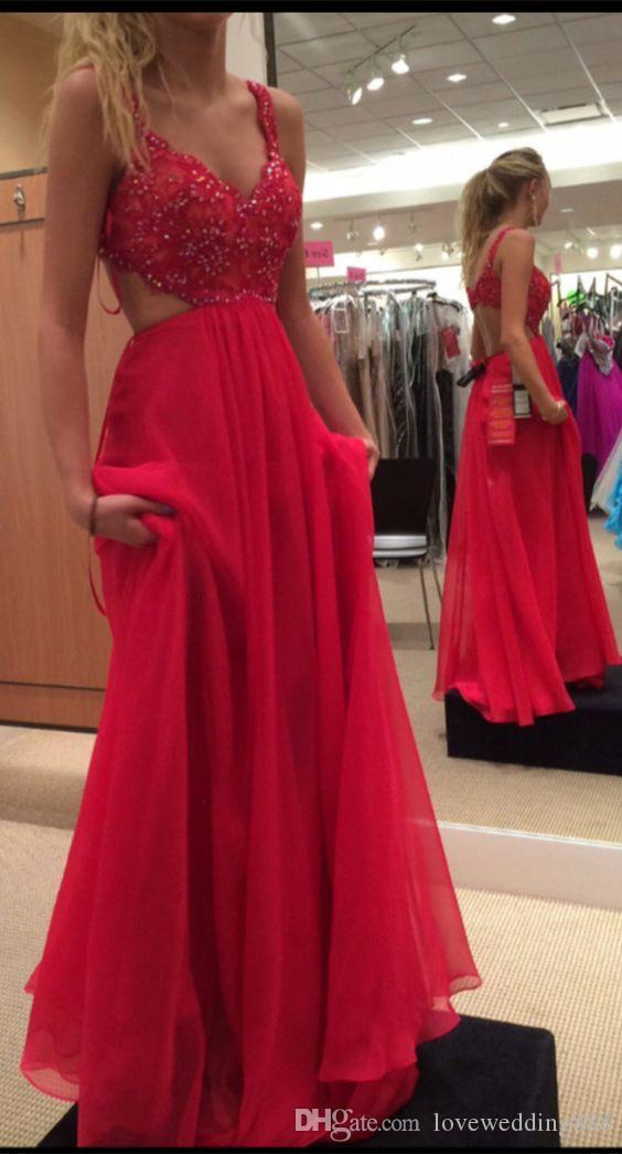 Beaded Top Fuchsia Red Prom Dresses 2017 Cut Out Side Spaghetti Straps Bra Back Long Chiffon Skirts For Holiday Evening Party Wear