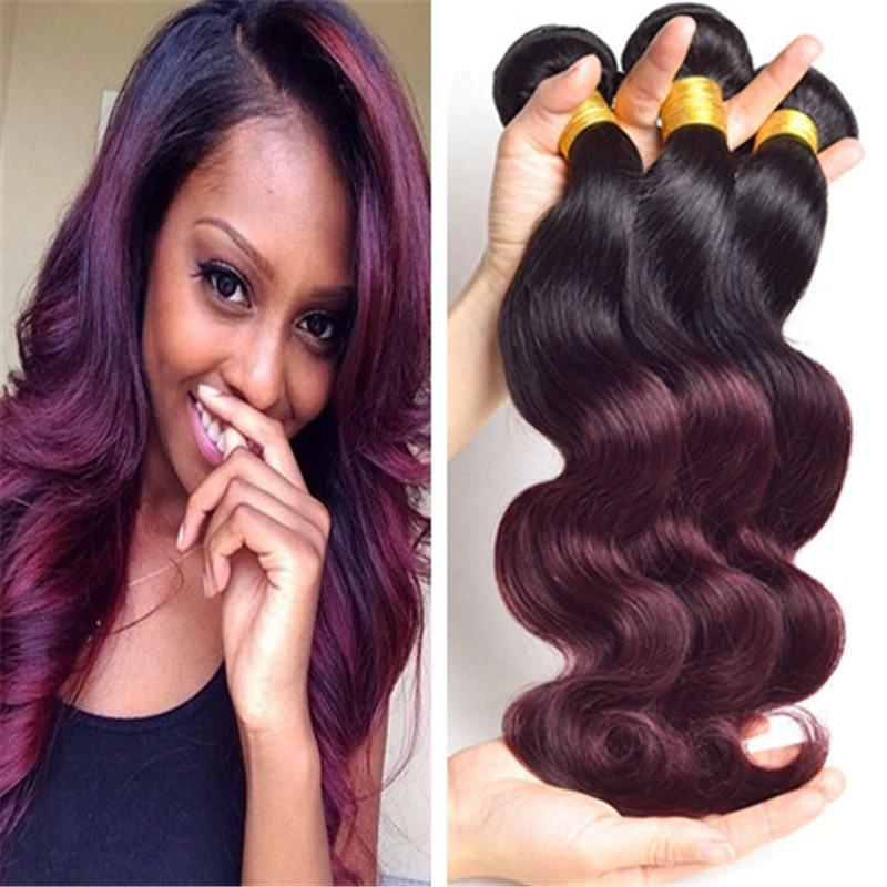 Ombre Burgundy Brazilian Virgin Body Wave Human Hair Weave 3 Bundles