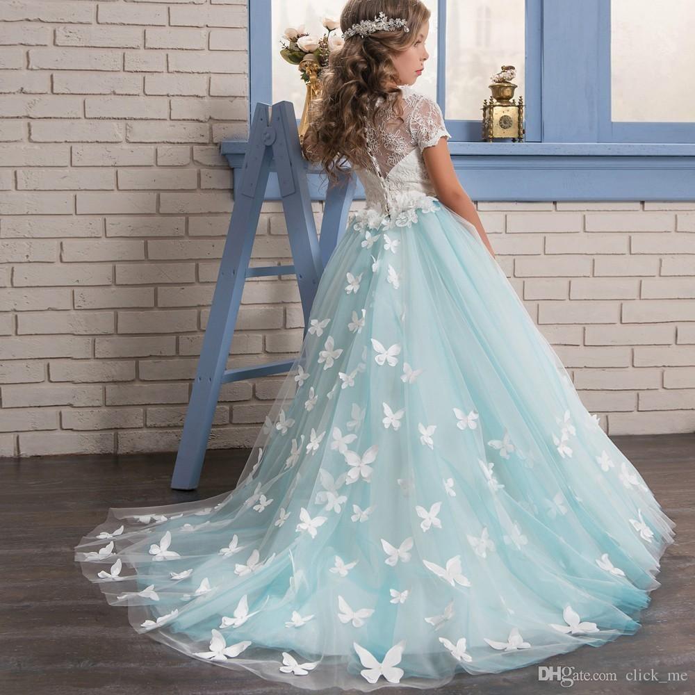 Glitz Koronki Kwiat Girl Sukienki Z Krótkimi Rękawami Motyl Aplikacje Graduation Girls Korowód Sukienka Sheer Back Buttons Suknie Ślubne Dzieci
