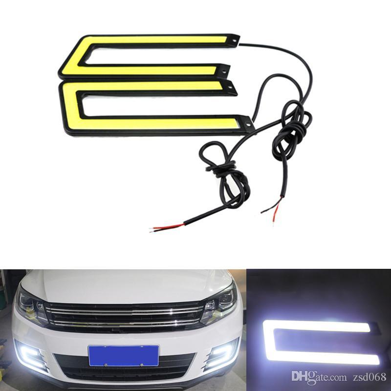 OTO BEYAZ Mavi Z-COB LED U-COB-BEYAZ DRL Araba Gündüz Çalışan Işık Sis Sürüş Lambası Su Geçirmez 12 v 2 adet