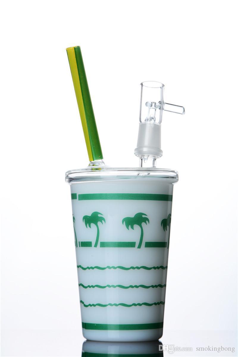Tubi di vetro di vetro spessa tubi unici becher becher di bongs fumare narghilè inebriante della scatola di impianto di petrolio del tavolino da tavolino dritto Bangs di acqua bolla con ciotola da 14 mm