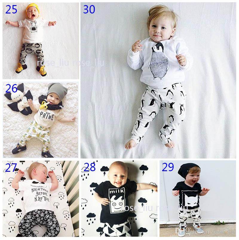 30 Style Baby INS fox stripe letter Suits DHL Kids Toddler Infant Casual Short long sleeve T-shirt +trousers sets pajamas B