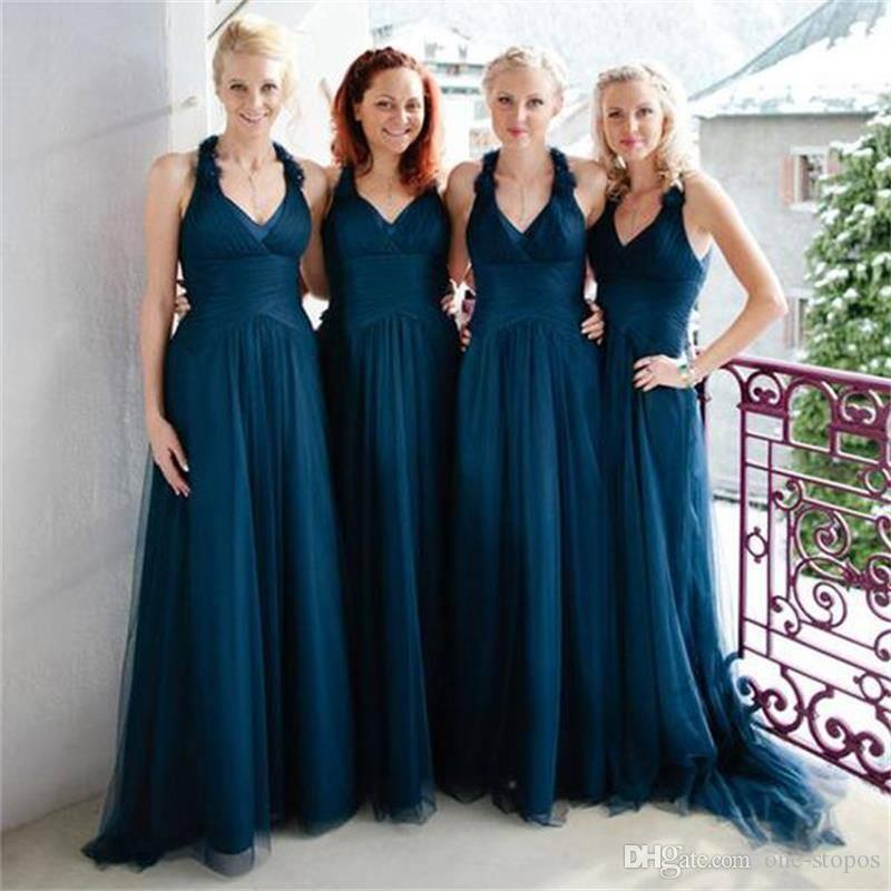 dc2cca60905 Dark Turquoise Long Tulle Country Bridesmaid Dresses High Quality Custom  Made Formal Maid Of Honor Gowns V Neck Empire Wedding Guest Dress Bridesmaid  ...