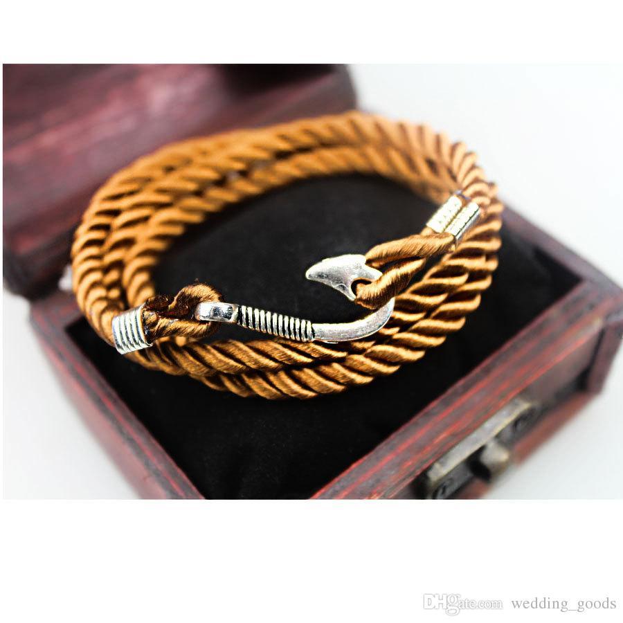 Vendita calda argento marina fai-da-te intrecciato argento placcato argento gancio da pesca braccialetto FB118 ordine della miscela 20 pezzi molto braccialetti di fascino