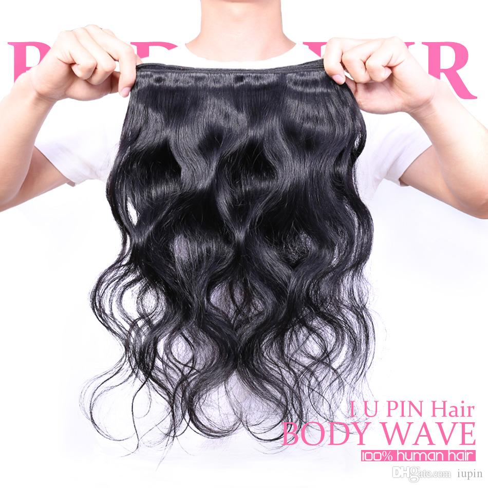 IUPin Hair Products Peruvian Body Wave Human Hair Weaves 4 Bundles with Closure Peruvian Virgin Hair Body Wave with Closure Beauty Supplies