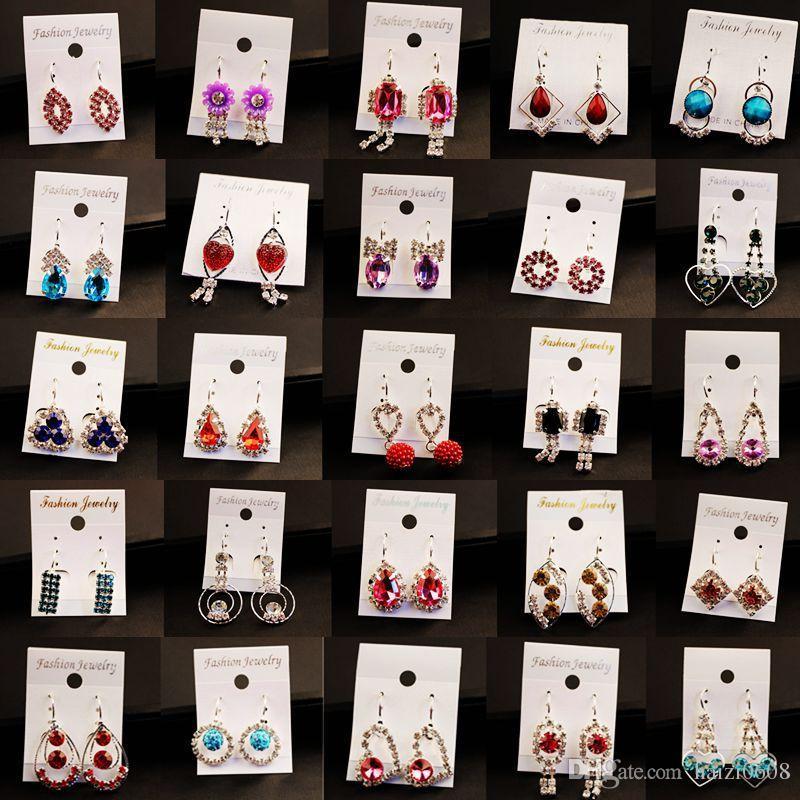 Новые Женщины Мода Изысканные Кристаллические Серьги Маленькие Серьги Очаровательные Серьги Ухо Клип Лучший подарок Для Женщин Девушка Стиль Стиль Стиль оптом