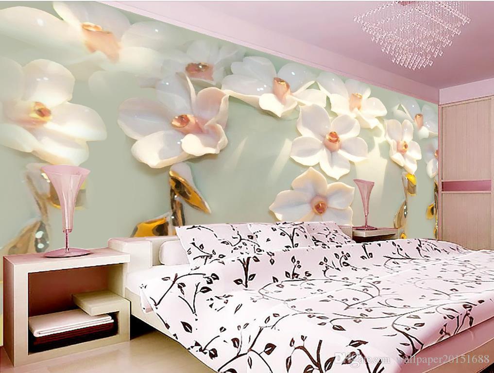 Duft von dreidimensionaler geschnitzten Blumen Hintergrund Wandbild 3D Wallpaper 3D-Tapeten für tv Hintergrund