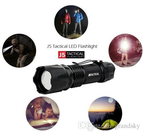 En ucuz LED El Feneri J5 Taktik V1-PRO 300 Lümen Ultra Parlak Fener Yürüyüş için En Iyi Araçlar, Avcılık, Balıkçılık ve Kamp