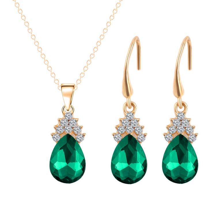Europe USA Fashion Rhinestone Crystal Drop Shape Jewelry Sets Stud Earrings & Necklace Set Top Quality Hot Style Women Girls' Gift